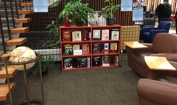 library exhibit of books related to Robinson Crusoe