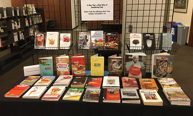exhbit of books about food, cooking, food politics, etc