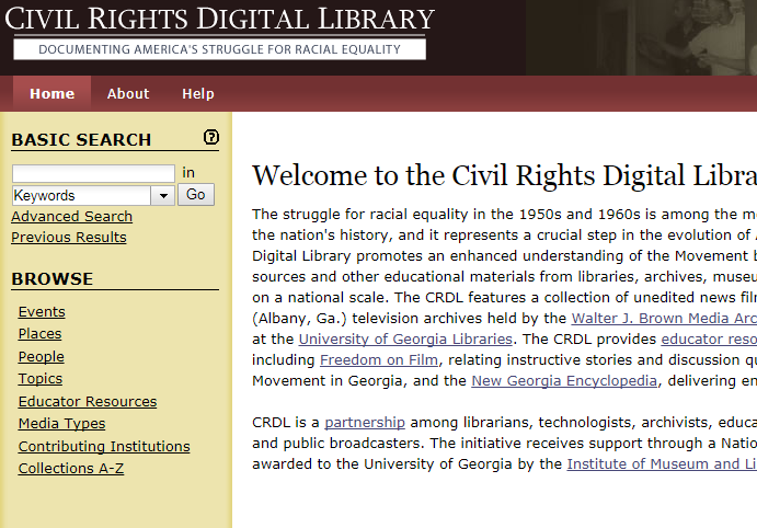 Screen Shot of the Civil Rights Digital Library