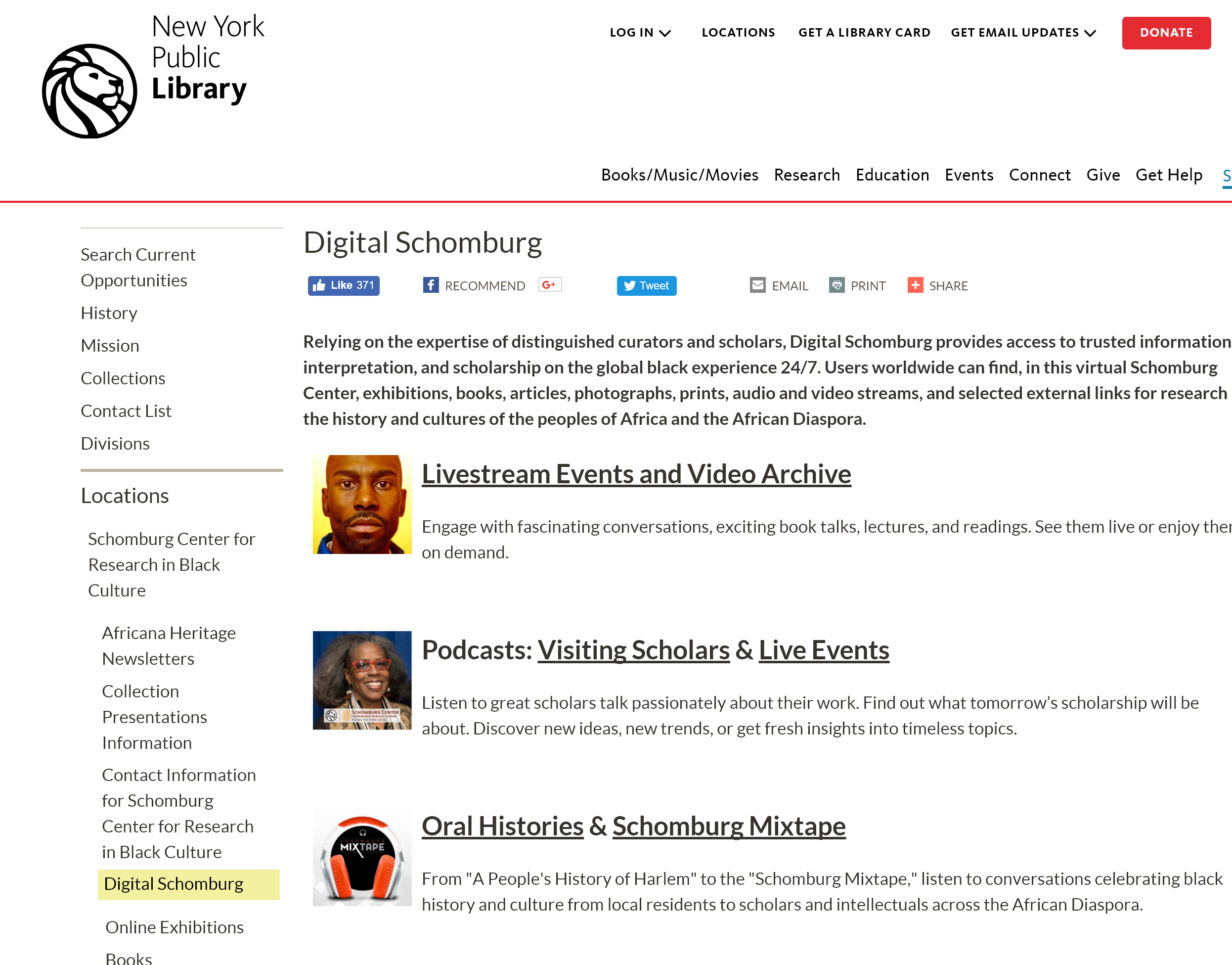Screenshot of Digital Schomburg