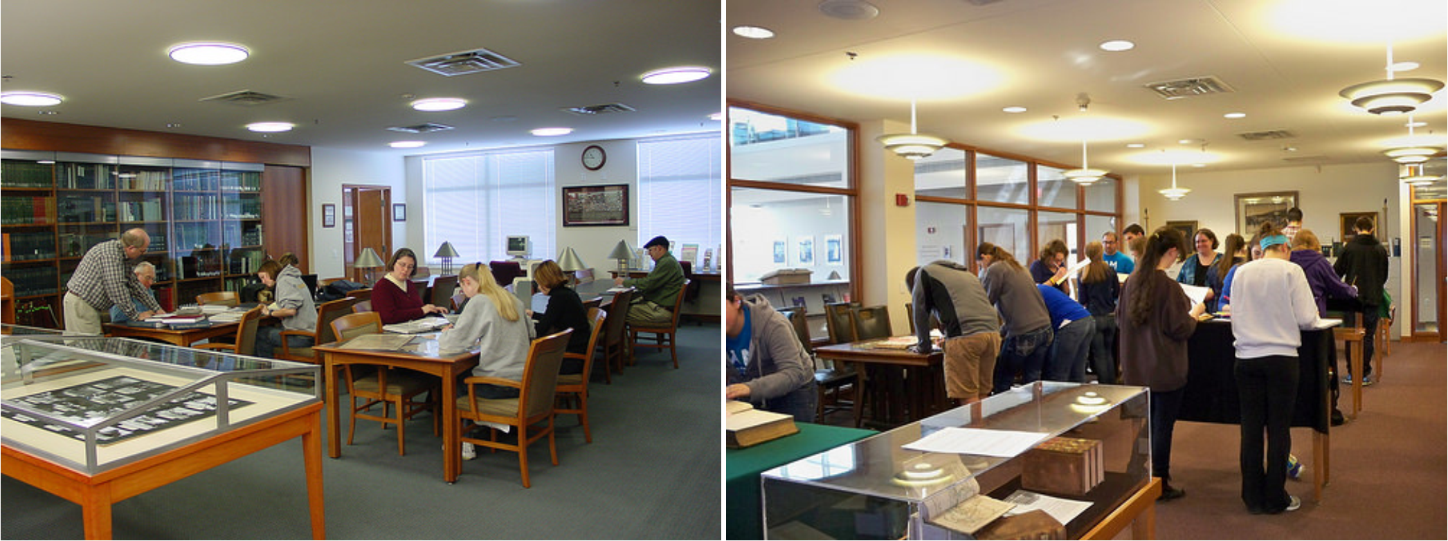 Students and faculty using the center for dubuque history and special collections