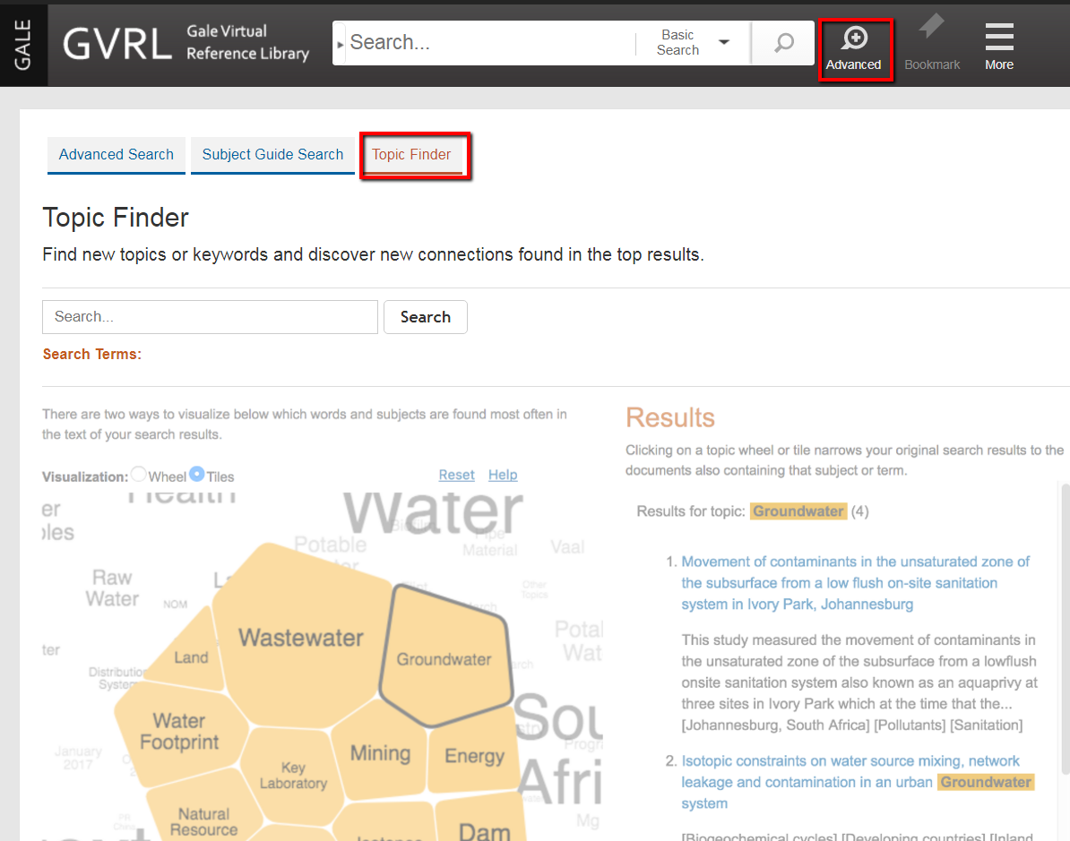 Topic Finder search screen in GVRL.