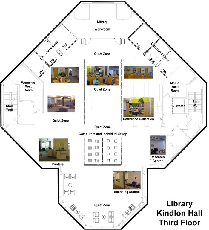 Benedictine University Library - Third Floor Map - AUgust, 2016