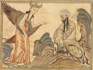 Mohammed receiving revelation from the angel Gabriel Read more at http://www.patheos.com/resources/additional-resources/2010/03/jinns-and-angels#fsXfksseypJUfePa.99