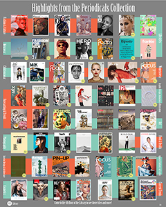 Poster of covers highlighting the collection