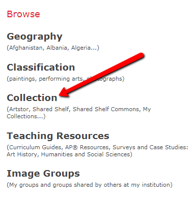 screenshot of navigation menu for Artstor highlighting collection