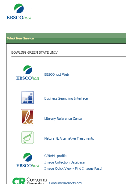 Screenshot of EBSCO webpage listing interfaces