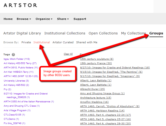 Screenshot of Artstor showing groups and institutional images