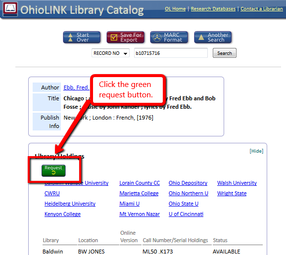 OhioLINK requesting - click request button in OhioLINK