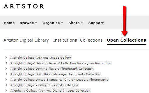 Screenshot of Artstor highlighting open collections link