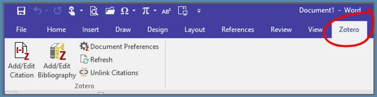 Zotero tab in Microsoft Word