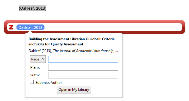 Edit citation in the red search bar in Zotero