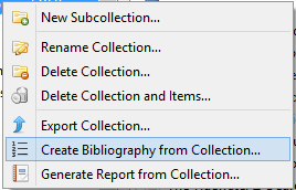 right click menu in the collections pane