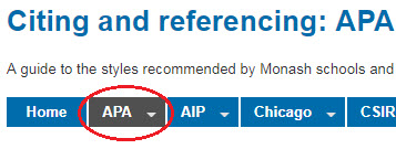 The second tab of the Citing and referencing Library guide is APA