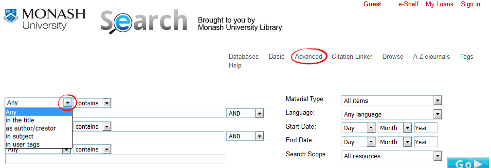 Advanced search allows you to choose and search across fields such as 'title', 'author', 'subject', 'tags'
