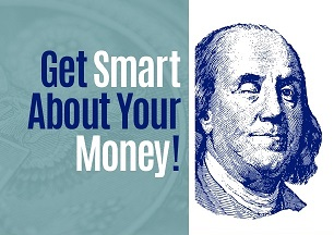 Financial literacy logo - winking Ben Franklin