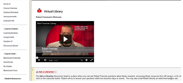 Embedded video tutorial and options for cinacting the librarian
