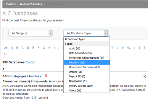 Database menu with e-books highlighted