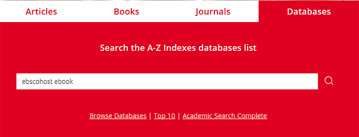 Databases search box