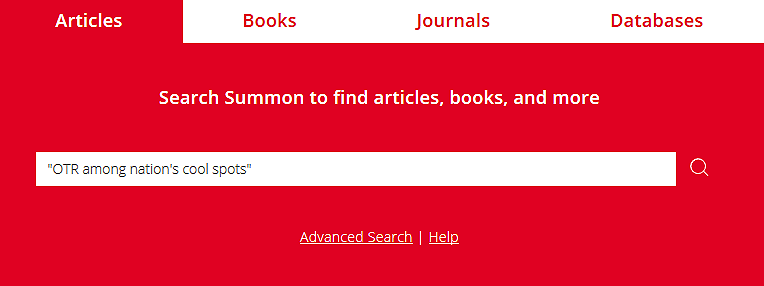 search box with the Articles tab selected