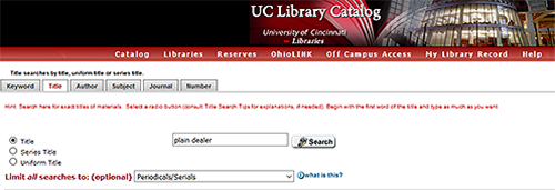 catalog title search filteres to periodicals