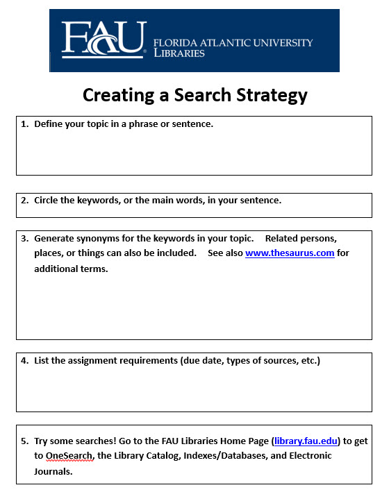 Creating a Search Strategy Worksheet