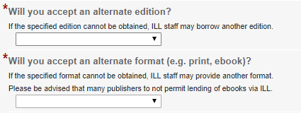 Screenshot of alternate edition and format questions on ILL request form