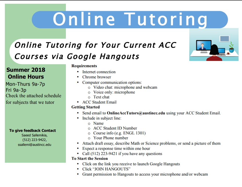 Online Tutoring via Google Hangouts is available