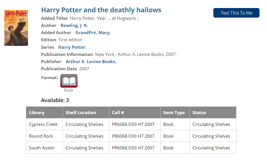 Harry Potter Book Search Result