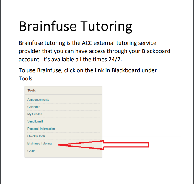 Brainfuse tutoring available in Blackboard