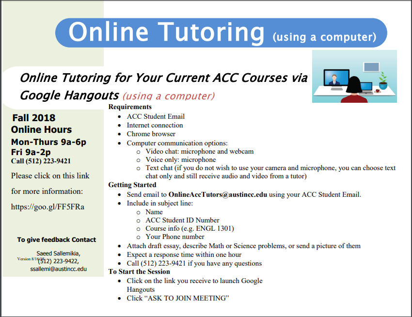 Online Tutoring is available on your computer