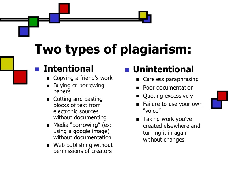 2 types of plagiarism: intentional and unintentional