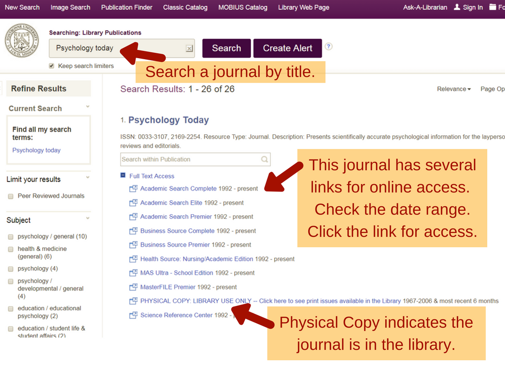 screenshot of online resource