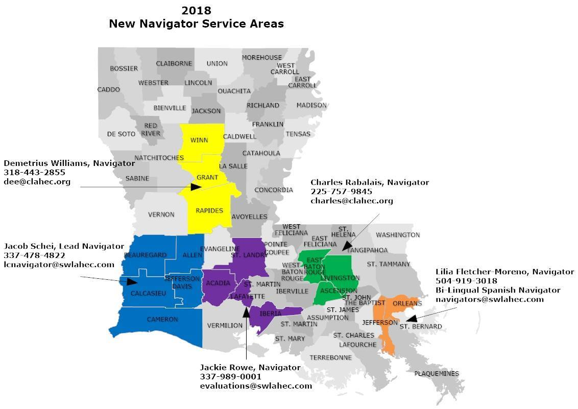 Louisiana state map with navigator contact information