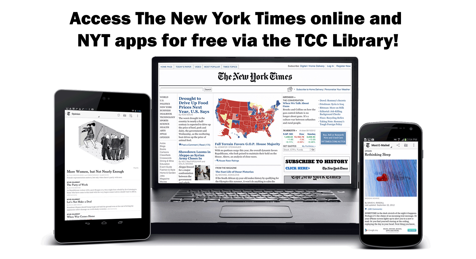 access the new york times online and NYT apps for free via the tcc library