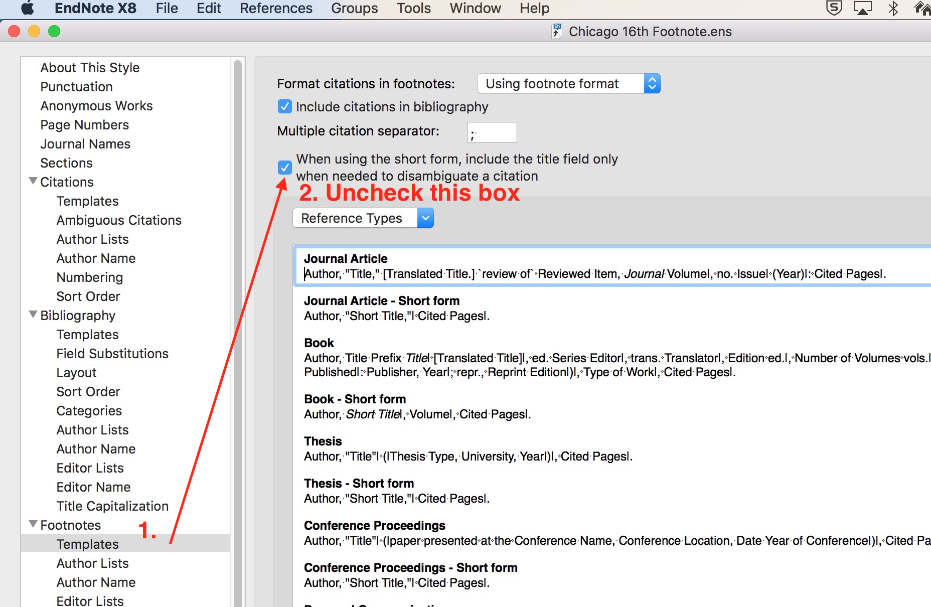 Endnote footnote disambiguate box