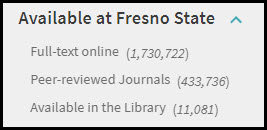 Onesearch Available at Fresno State facets