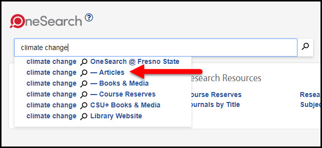 OneSearch articles scope highlighted