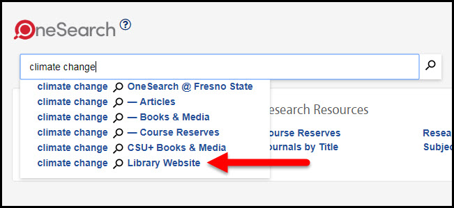 Onesearch library website scope