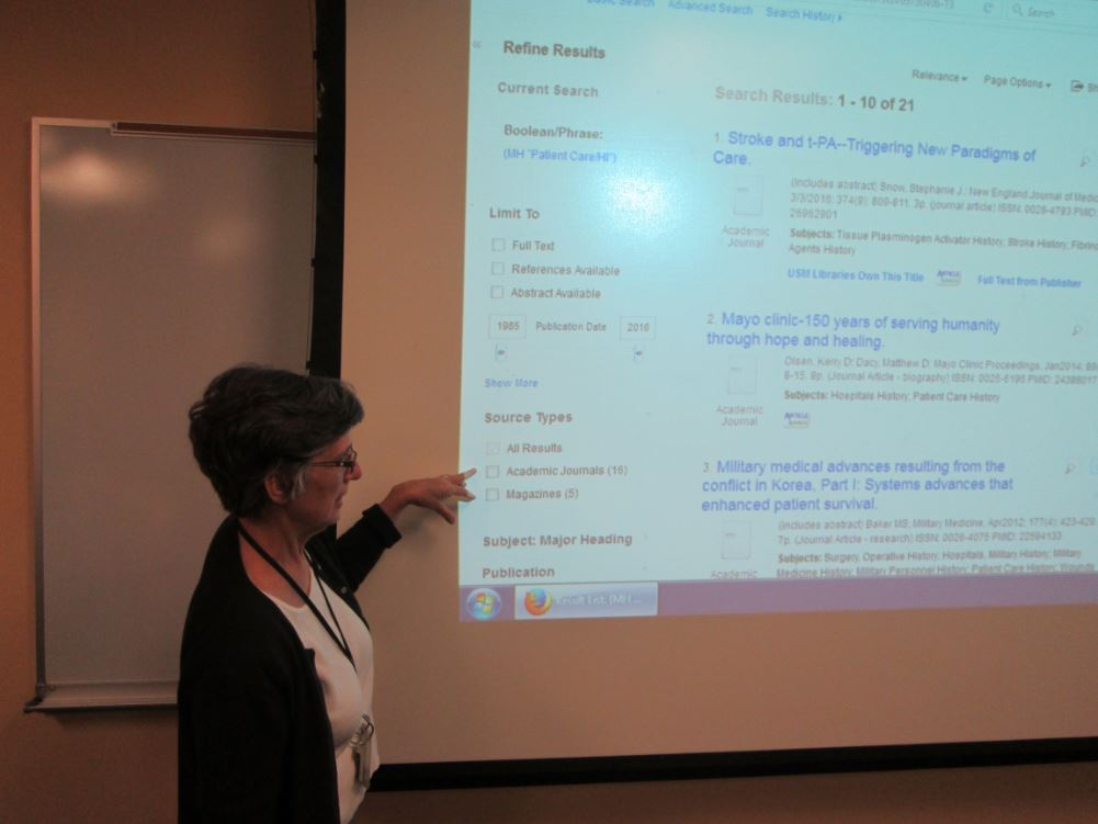 Librarian instructing a class
