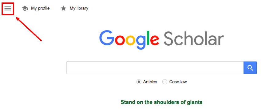 Google Scholar settings