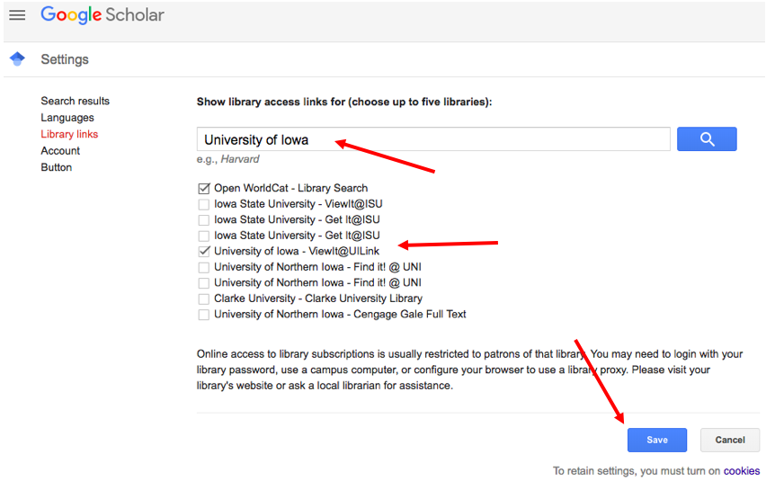 Google Scholar save settings