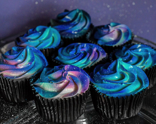 Blue colored cupcakes.