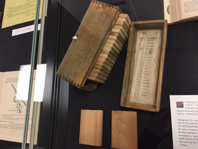 Photo of box of wood samples from Japan