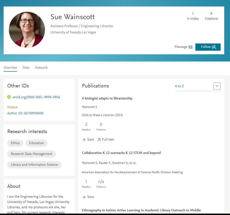 View of a sample user profile page in Mendeley