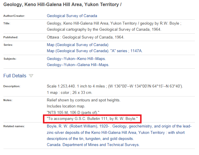 Catalogue record for map 1147A, Geology, Keno Hill-Galena Hill Area, Yukon Territory, showing a reference to its associated document in the Notes field.