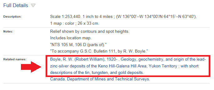 Image of Full Details section of catalogue record for the map Geology, Keno Hill-Galena Hill Area, Yukon Territory, showing a hyperlink to Bulletin 111.