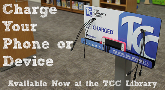 Charge your phone or device at the T C C library