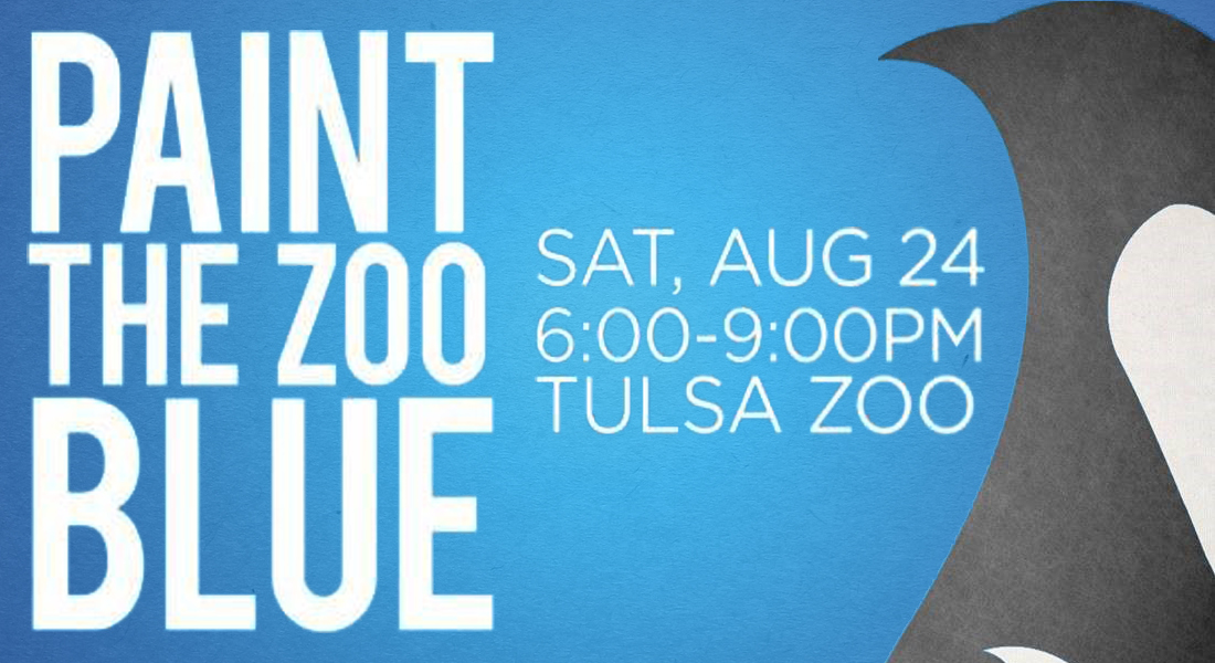 paint the zoo blue. saturday august 24 from 6 to 9 p m at the tulsa zoo.