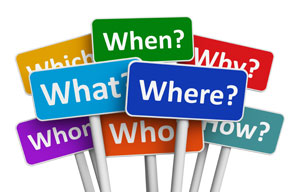 picture of signs that say when, what, where, who